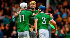 Limerick's Kyle Hayes (left), Dan Morrissey and Mike Casey, celebrate after this year's win over Kilkenny. Photo: Ray McManus/Sportsfile
