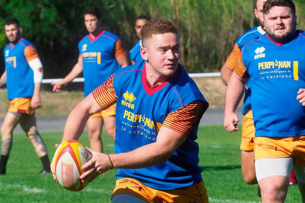 Paddy Jackson, in training with Perpignan.