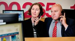 Beatrice Dooley, IGC president, and National Parents Council post-primary (NPCpp) president Geoffrey Browne at the launch of the Leaving Cert Helpline at Croke Park. Photo: Steve Humphreys
