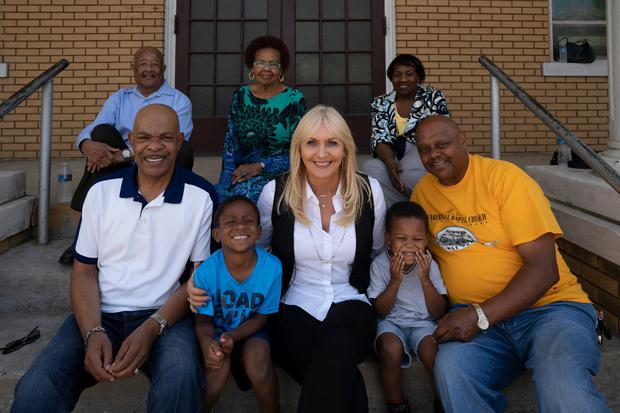 Miriam O'Callaghan with Selma residents