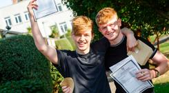 Students receive their Leaving Certificate results at Mount Temple secondary school in Dublin Photo: Mark Condren/INM