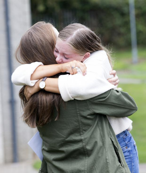 Anna Doyle and Ann-Marie Eikrem celebrate their Leaving Cert results at Gorey Community College Photo: Tony Gavin
