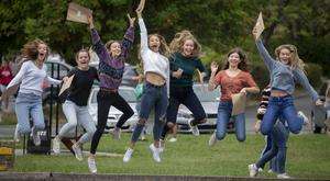 From left Anna Dowley, Piltown Co. Kilkenny; Kara Fitzherbert, Carlow; Nicola Pratt, Carlow; Sara Deacon, Carlow; Holly Moynan, Ballacolla Co.Laois; Vicky Woods, Tinahely Co. Wicklow and Hanah Condell, Abbeyleix Co. Laois pictured getting the Leaving Certificate results at Kilkenny College in Kilkenny. Photo: Dylan Vaughan