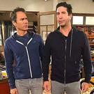 Eric McCormack and David Schwimmer on the set of Will & Grace. PIC: Debra Messing/Instagram