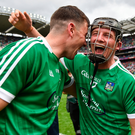 29 July 2018; Limerick's Peter Casey, right, and Diarmaid Byrnes celebrate after the GAA Hurling All-Ireland Senior Championship semi-final match between Cork and Limerick at Croke Park in Dublin. Photo by Piaras Ó Mídheach/Sportsfile