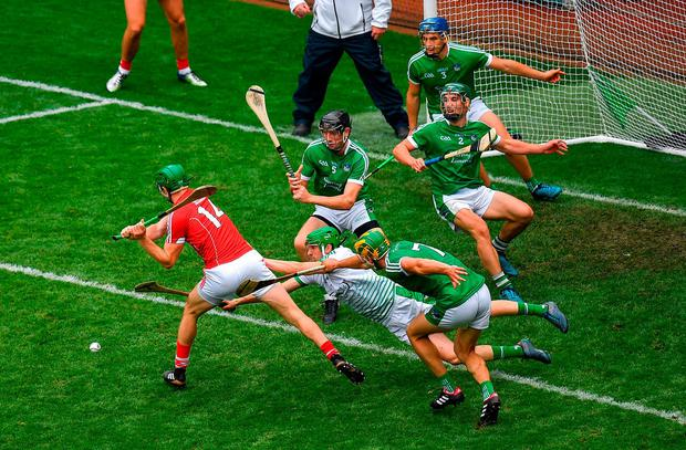 Limerick goalkeeper Nickie Quaid makes a save from Cork's Seamus Harnedy in the final moments of the All-Ireland SHC semi-final. Photo: Brendan Moran/Sportsfile