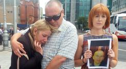 Hit-and-run victim Karl Robertson's parents, Cathy and Anthony, and his cousin Aisling Reid