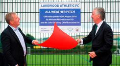 FAI CEO John Delaney and Minister for Agriculture Michael Creed opening a new pitch at Lakewood FC in Cork last night. Photo: Eóin Noonan/Sportsfile