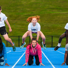Patience Jumbo Gula, Ciara Neville and Gina Akpe Moses with 12-year-olds Josh Bowland (Crecora), Leah Moloney (Martinstown Kilfinane) and Denis Matthews (Raheen) at the launch of the Aldi Community Games National Festival. Photo: Sportsfile