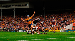 Shane O'Donnell celebrates after scoring Clare's first goal against Galway which gave them a route back into their All-Ireland semi-final replay. Photo: Sportsfile
