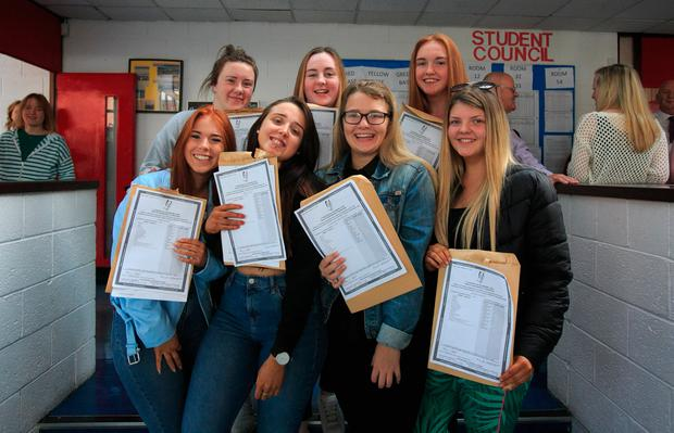 Students who got Leaving Cert results at Pobalscoil Neasáin, Baldoyle, Dublin. Photo: Gareth Chaney Collins