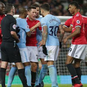 Tempers flared in the tunnel after December's Manchester derby Credit: Getty images