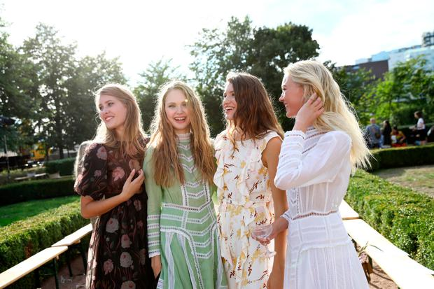 Models pose after the byTiMo show during Oslo Runway SS19 at Oslo Ladegard on August 14, 2018 in Oslo, Norway. (Photo by John Phillips/Getty Images for Oslo Runway)