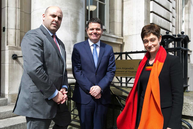 Finance minister Paschal Donohoe (centre) with Stephen Nolan, CEO Sustainable Nation Ireland and Kirsten Dunlop, CEO EIT Climate-Kic