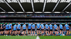 11 August 2018; The Dublin team prior to the GAA Football All-Ireland Senior Championship semi-final match between Dublin and Galway at Croke Park in Dublin. Photo by Stephen McCarthy/Sportsfile