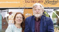 Clelia Murphy and Brendan Gleeson at St Francis Hospice, where they launched the annual coffee morning fundraising appeal