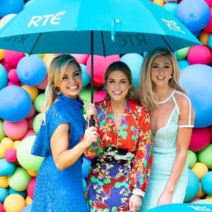Anna Geary, Amy Huberman and Jenny Dixon at the RTÉ new season launch yesterday. Photo: Andres Poveda