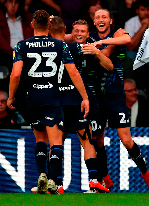 Leeds players celebrate during their convincing win over Derby County last weekend. Photo: Chris Radburn/PA