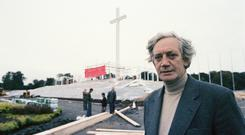 Quick turnaround: Ronnie Tallon on site as the altar around the Papal Cross in the Phoenix Park is dismantled following Pope John Paul II's visit. Photos: RTÉ Stills Library