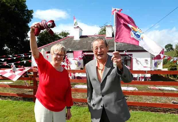 Phil Gibbons, from Tiernascragh, and Tom Moran (79), from New Inn, Galway, outside Lar Kelly's house. Photo: Damien Eagers
