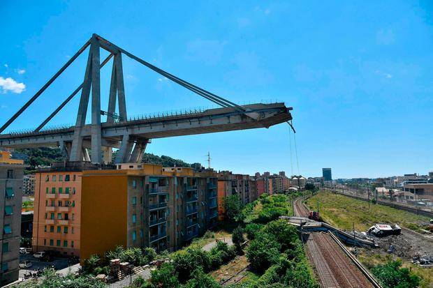 A view of the Morandi highway bridge that collapsed in Genoa, northern Italy. (Luca Zennaro/ANSA via AP)