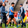 11 August 2018; Cian O'Sullivan with Dublin manager Jim Gavin as he leaves the field after picking up an injury during the GAA Football All-Ireland Senior Championship semi-final match between Dublin and Galway at Croke Park in Dublin. Photo by Stephen McCarthy/Sportsfile