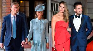 James Matthews and Pippa Middleton, left, Vogue Williams and Spencer Matthews, right