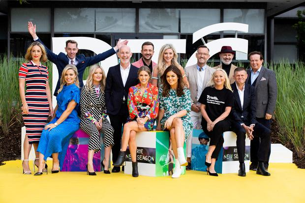 Pictured at the RTÉ New Season Launch 2018 (Back from left) Kathryn Thomas, Ryan Tubridy, Ray D'Arcy, Rodrigo Ternevoy and Jenny Dixon, Brendan Courtney, Tommy Tiernan, Marty Morrissey, (Front from left) Anna Geary, Laura Whitmore, Amy Huberman, Doireann Garrahy, Dr. Eva Orsmond and Brendan O'Connor. Picture: Andres Poveda