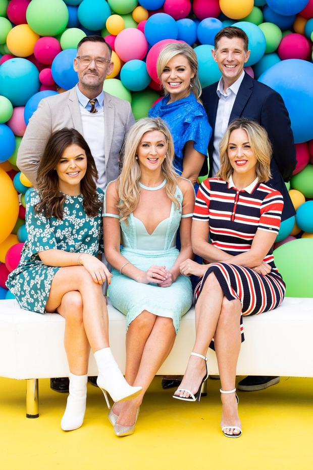 Brendan Courtney, Anna Geary, Dermot Bannon, (front) Doireann Garrihy, Jenny Dixon and Kathryn Thomas at the RTÉ New Season Launch 2018. Picture: Andres Poveda