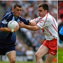 Alan Brogan (left) in action against Tyrone in 2005, which was a very different encounter to the game the teams played in Omagh this year (right).