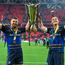 12 May 2018; Rob Kearney, left, and Jonathan Sexton of Leinster celebrate with the cup after the European Rugby Champions Cup Final match between Leinster and Racing 92 at the San Mames Stadium in Bilbao, Spain. Photo by Brendan Moran/Sportsfile