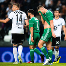 Sean McLoughlin of Cork City reacts after Alexander Søderlund of Rosenborg scored his side's second goal during the UEFA Europa League 3rd Qualifying Round Second Leg match between Rosenborg and Cork City at Lerkendal Stadion in Trondheim, Norway.