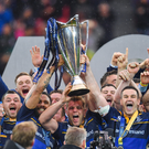 Isa Nacewa, Jordi Murphy and Jonathan Sexton of Leinster lift the trophy following the European Rugby Champions Cup Final match between Leinster and Racing 92 at the San Mames Stadium in Bilbao, Spain.