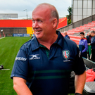 London Irish director of rugby Declan Kidney admiring the new pitch at Irish Independent Park last night. Photo: Sportsfile