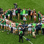 Limerick manager John Kiely speaks to his players after the GAA Hurling All-Ireland Senior Championship semi-final match between Cork and Limerick at Croke Park in Dublin.