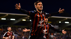 Eoghan Stokes of Bohemians celebrates after scoring his side's first goal during the SSE Airtricity League Premier Division match between Shamrock Rovers and Bohemians at Tallaght Stadium in Dublin.