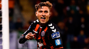 Eoghan Stokes of Bohs celebrates after scoring the winner against Shamrock Rovers last night. Photo: Sportsfile