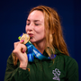 17 August 2018; Ellen Keane of Ireland with her bronze medal following the final of the Women's 200m Individual Medley SM9 event during day five of the World Para Swimming Allianz European Championships at the Sport Ireland National Aquatic Centre in Blanchardstown, Dublin. Photo by David Fitzgerald/Sportsfile