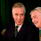18 August 2018; John Delaney, CEO, Football Association of Ireland, left, and FAI President Tony Fitzgerald during the Football Association of Ireland Annual General Meeting at the Rochestown Park Hotel in Cork. Photo by Stephen McCarthy/Sportsfile