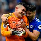 Cardiff City's Neil Etheridge celebrates with Callum Paterson after saving a penalty
