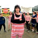 Moira Cassidy and they year-round sea swimmers (The Red Hot Mommas) protesting against the construction of sewerage plant in Clonshaugh, Dublin. Picture: Caroline Quinn