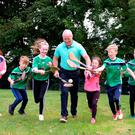 Stephen McDonagh with his children Cian, Sophie, Ava and Darragh and their cousins Sean O'Gorman and Kate O'Gorman will visit his father-in-law at the Mater Hospital this morning before journeying on to Croke Park. Photo: Caroline Quinn