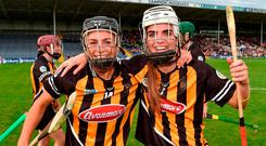Kilkenny players Anna Farrell, left, and Davina Tobin celebrate after the Liberty Insurance All-Ireland Senior Camogie Championship semi-final match between Galway and Kilkenny at Semple Stadium in Thurles, Tipperary. Photo by Matt Browne/Sportsfile