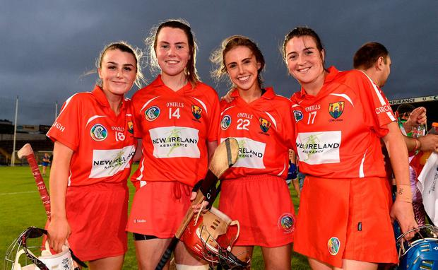 Cork players from left Lauren Homan, Niamh McCarthy, Niamh o'Callaghan and Aileen Sheehan aftethe Liberty Insurance All-Ireland Senior Camogie Championship semi-final match between Cork and Tipperary at Semple Stadium in Thurles, Tipperary. Photo by Matt Browne/Sportsfile