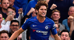 Chelsea's Marcos Alonso celebrates after scoring the winning goal against Arsenal at Stamford Bridge yesterday evening. Photo: Getty Images