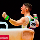 Rhys McClenaghan's gold medal at the European Championships was a breakthrough moment for Irish gymnastics. Photo: Sportsfile