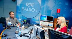 NERVES: Leo Varadkar with Miriam O'Callaghan in the RTE radio studios in January 2015 for the interview during which he publicly came out as gay. Photo: El Keegan