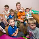 SOCIETY DEMONISES SINGLE MOTHERS: Margaret Cash and her children (from left) Johnny (11), Rocky (two), Jim (four) Andy (one) Tommy (10) and Miley (seven) pictured at The Inner City Helping Homeless Organisation, Amien Street, last week
