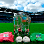 The Liam MacCarthy Cup with Galway and Limerick jerseys