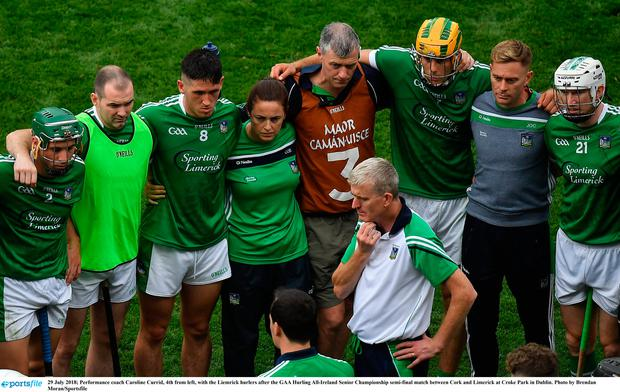 Performance coach Caroline Currid, 4th from left, with the Limerick hurlers after the GAA Hurling All-Ireland Senior Championship semi-final match between Cork and Limerick at Croke Park in Dublin. Photo by Brendan Moran/Sportsfile
